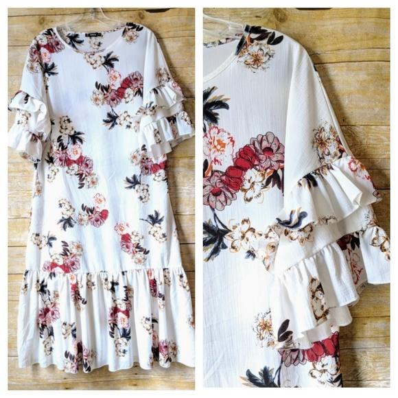 6d6b815765 SHEIN Dresses | Sale Floral Ruffle Midi Dress M | Poshmark